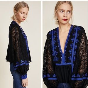 Free People Boogie All Night Blouse Blue Medium